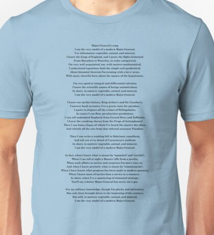 Major General's song - Pirates of Penzance - Gilbert & Sullivan Unisex T-Shirt