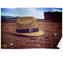 Vintage hat on the beach Poster