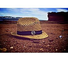 Vintage hat on the beach Photographic Print