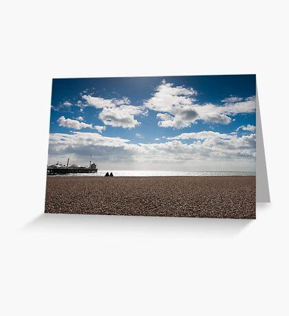 Brighton pier with blue skies Greeting Card