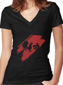 Rooster Teeth brush stroke  Women's Fitted V-Neck T-Shirt