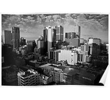 Melbourne Skyline Sunrise - Black & White Poster