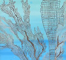 Seahorse in Moonglow Fan Coral by LindaZArtist