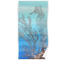 Seahorse in Moonglow Fan Coral Poster