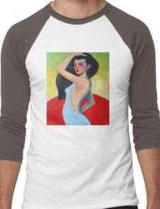 Modern Contemporary Impressionism Figure Painting Of a Beautiful Woman In Blue  Men's Baseball ¾ T-Shirt