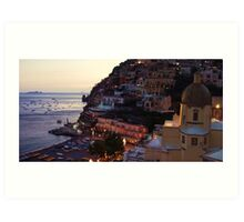 Moonlight over Positano Art Print