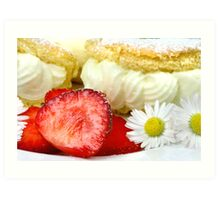 Lemon Cream Biscuit with Strawberries and Daisy Art Print