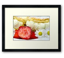 Lemon Cream Biscuit with Strawberries and Daisy Framed Print