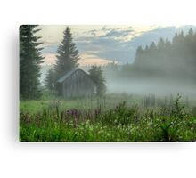 Foggy barn Canvas Print