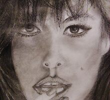 Graphite Portrait Drawing - Eva by gilbertlamm