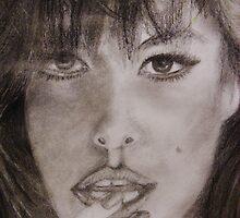Graphite Portrait Drawing - Eva by gilbertlamm