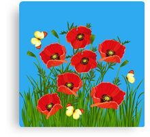 Poppies and Butterflies Canvas Print