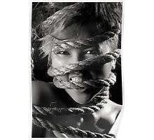 Ropes around beautiful young woman face Poster