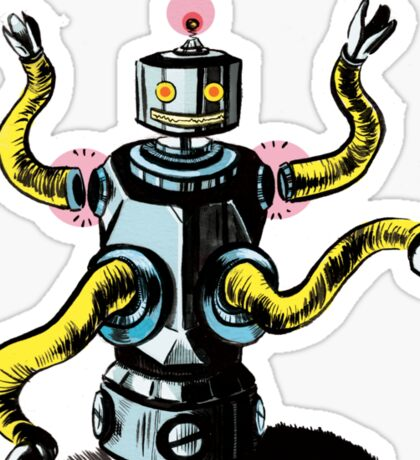Really Rad Retro Robot Sticker