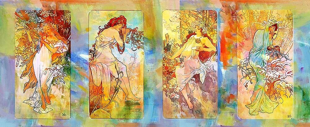 DEDICATION ~ MUCHA ~ SPRING, SUMMER, FALL, WINTER by Tammera