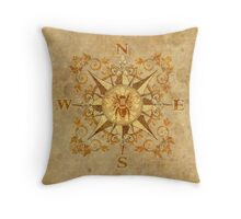 Vintage Rose Compass Throw Pillow