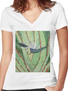 White Bird of Paradise Women's Fitted V-Neck T-Shirt