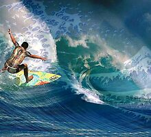 The surfer and Hokusai by Bill Brouard
