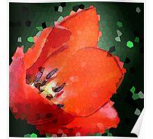 Red Tulip Fractal Poster