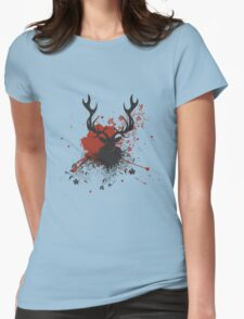 Grunge Stag with Floral Womens Fitted T-Shirt