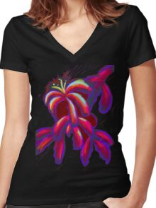 Lilies Women's Fitted V-Neck T-Shirt