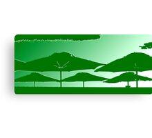 6 Green Umbrella's Canvas Print