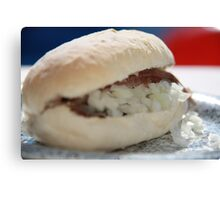 Sandwich with raw herring Canvas Print
