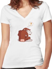 Monkey WTF??? Women's Fitted V-Neck T-Shirt