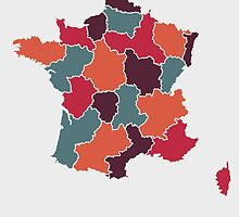 France map retro colour by mmapprints