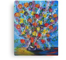 Spring has Sprung, abstract floral bouquet, daffodils, spring flowers Canvas Print