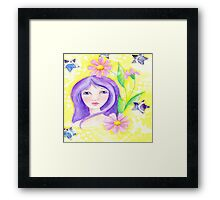 Whimiscal Girl with Long Purple Hair Framed Print