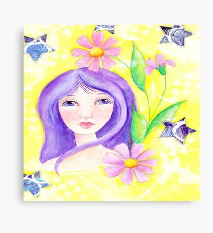 Whimiscal Girl with Long Purple Hair Canvas Print