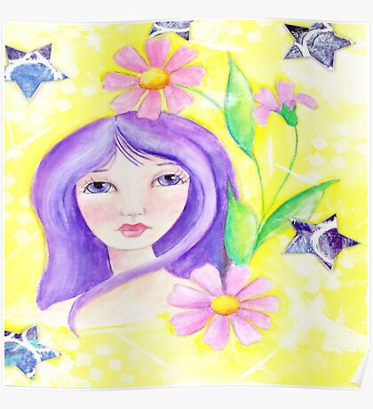 Whimiscal Girl with Long Purple Hair Poster