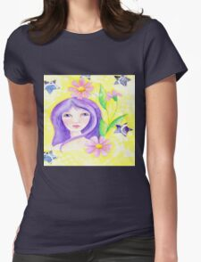 Whimiscal Girl with Long Purple Hair Womens Fitted T-Shirt