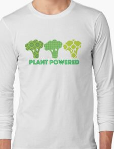 'Powered by Veg' Broccoli Vegan Design Long Sleeve T-Shirt