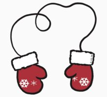 Winter snowflake Xmas red mittens  Kids Tee