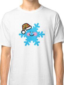 Merry Christmas blue snowflake cartoon Classic T-Shirt