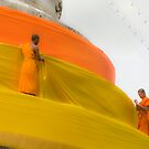 Monks wrapping stuppa by RobAllsop