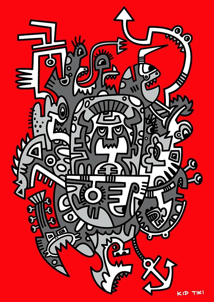 Grey Space Tiki In A Red Sky by KIDTIKI