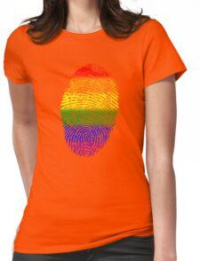Rainbow Fingerprint LGBT Womens Fitted T-Shirt