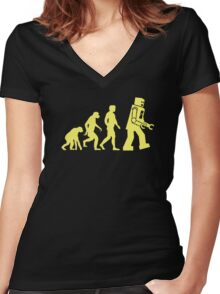 Sheldon Robot Evolution Women's Fitted V-Neck T-Shirt