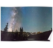 Middle of the Night Milky Way Rocky Mountains Poster