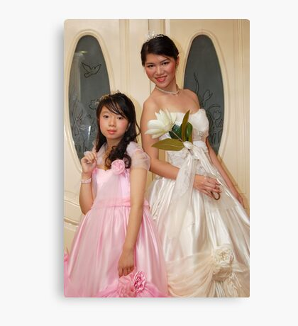 bride and flower girl gown design 8 Canvas Print