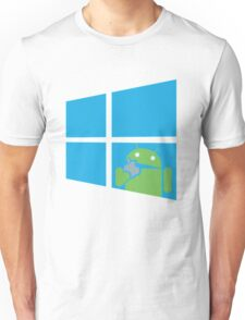 Android eats an Apple through a Window Unisex T-Shirt