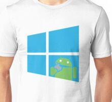 Android eats an Apple through a Window Unisex T-Shirt