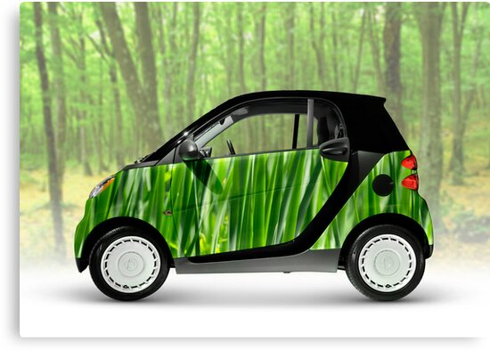 Green Mini Car Smart Fortwo in the Nature by ArtNudePhotos