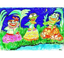 Midnight hula frogs Photographic Print