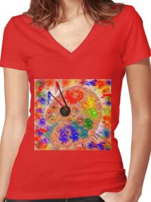 The Furry Palette Women's Fitted V-Neck T-Shirt
