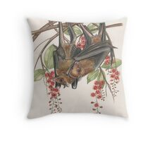 Rousettus amplexicaudatus on Fresh-water Mangroves Throw Pillow