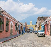 A Street in the Old Town Area of Antigua, Guatemala by Gerda Grice